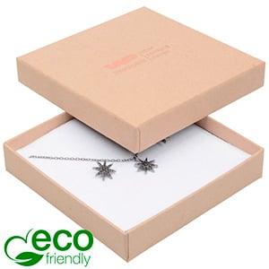 Storkøb -  Frankfurt Eco smykkeæske til halskæde Mat naturfarvet FSC®-certificeret karton/Hvid skum 86 x 86 x 17