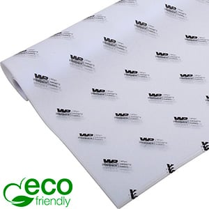 ECO-Friendly Tissue Paper with Print, small sheets White with black print 350 x 500 17 gsm