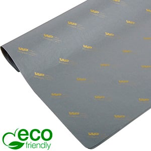 ECO-Friendly Tissue Paper with Print, small sheets Grey with print in gold 350 x 500 17 gsm