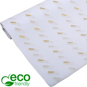 ECO-Friendly Tissue Paper with Print, small sheets White with print in gold 350 x 500 17 gsm
