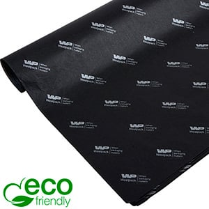 ECO-Friendly Tissue Paper with Print, small sheets Black with print in silver 350 x 500 17 gsm