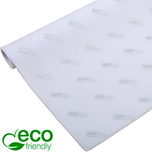 ECO-Friendly Tissue Paper with Print, small sheets White with print in silver 350 x 500 17 gsm